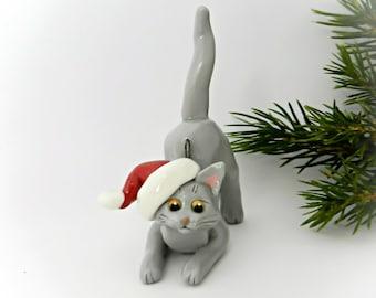 Russian Blue Cat Porcelain Christmas Ornament Figurine Santa Hat