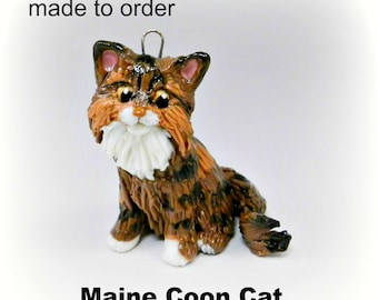 Maine Coon Cat Christmas Ornament Figurine Made to Order in Porcelain