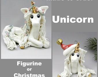 Unicorn Porcelain Christmas Ornament or Figurine OOAK Made to Order