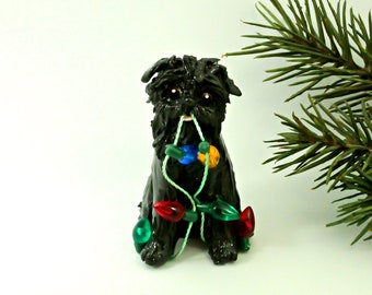 Brussels Griffon Black PORCELAIN Christmas Ornament Figurine with Lights