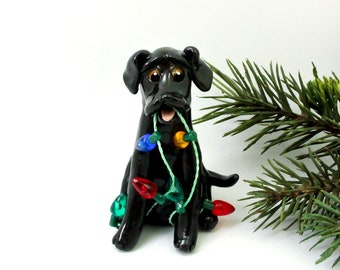 Labrador Retriever Black PORCELAIN Clay Christmas Ornament Figurine Lights