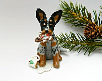 Australian Cattle Dog Porcelain Christmas Ornament Figurine Santa's Milk and Cookie