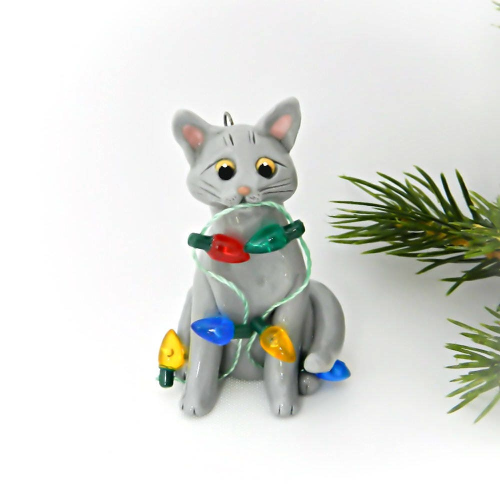 Christmas Kangaroo Lights.Russian Blue Cat Porcelain Christmas Ornament Figurine