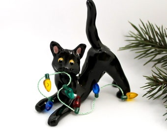Black Cat PORCELAIN Christmas Ornament Figurine Lights OOAK