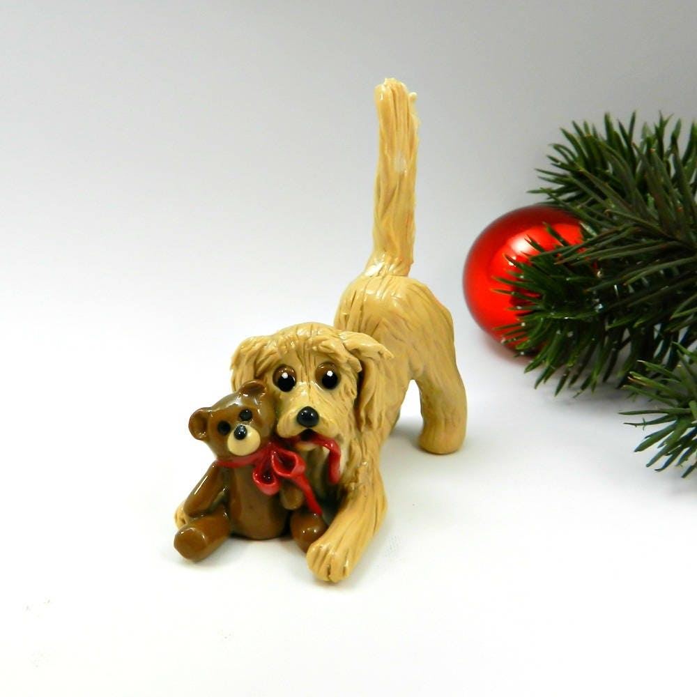 golden retriever christmas ornament figurine teddy bear porcelain