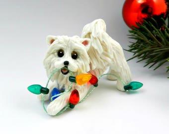 Samoyed Dog Porcelain Christmas Ornament Figurine Clay with Lights