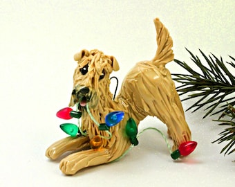 Soft Coated Wheaten Terrier Porcelain Christmas Ornament Lights