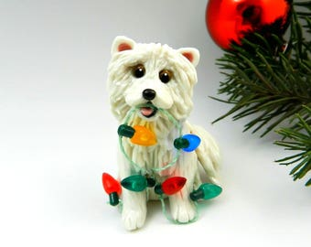 Samoyed Dog Porcelain Christmas Ornament Figurine with Lights OOAK