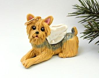 Yorkshire Terrier Angel PORCELAIN Christmas Ornament Figurine Memorial