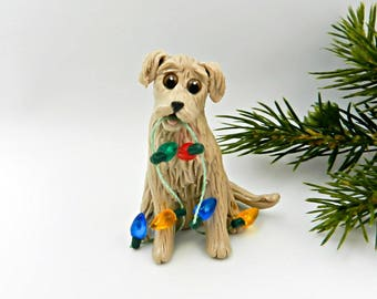 Golden Retriever PORCELAIN Christmas Ornament Figurine Lights OOAK