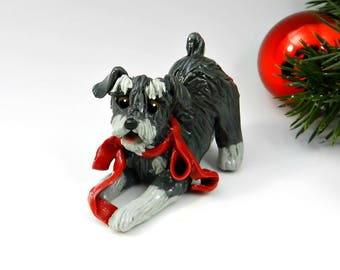 Schnauzer Christmas Ornament Figurine Salt Pepper with Red Bow Porcelain