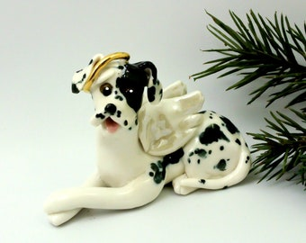 Angel Harlequin Great Dane PORCELAIN Christmas Ornament Figurine