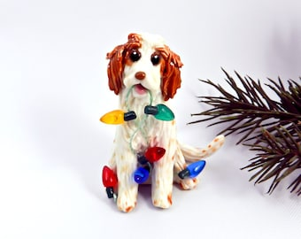 English Setter Orange Belton Porcelain Christmas Ornament Figurine Lights