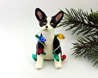 Boston Terrier Christmas Ornament Figurine Lights Porcelain