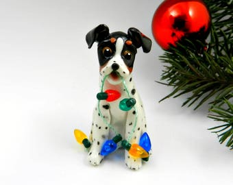 Rat Terrier Toy Fox Terrier Christmas Ornament Figurine Lights Porcelain