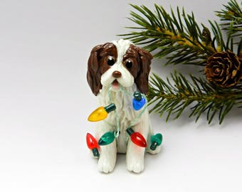 Springer Spaniel Liver Porcelain Christmas Ornament Figurine with Lights