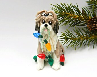 Lhasa Apso Christmas Ornament Figurine Porcelain OOAK Sable White Clay Lights