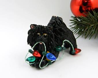 Pomeranian Black PORCELAIN Christmas Ornament Figurine Lights Clay