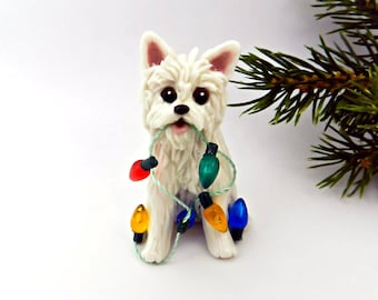 Westie West Highland White Terrier Porcelain Clay Christmas Ornament Figurine OOAK Lights