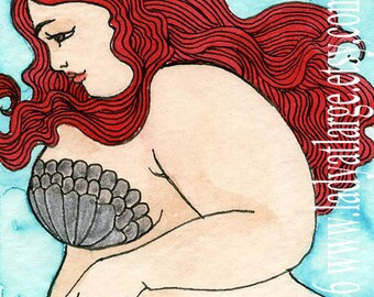 Fat girl mermaid red tail