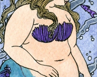 Fat girl Lavender and Blue mermaid  5x7 print