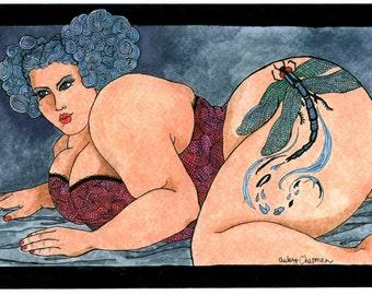 Grace Fat girl Tattoo (5x7 or 8x10 print)