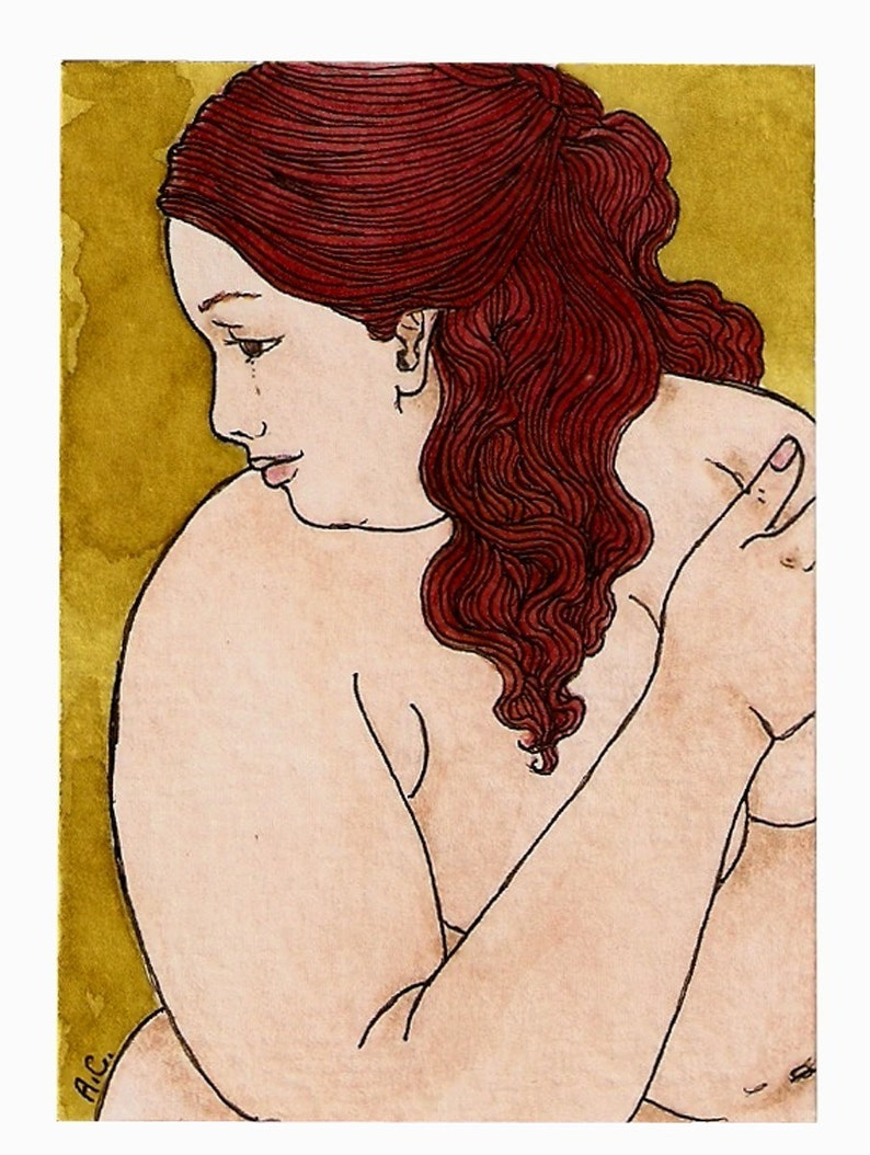 NUDE bbw Fat redhair 5x7 or 8x10 print image 0