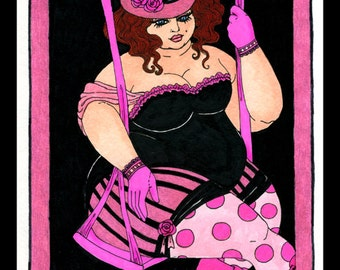 Circus Swing 8x10 print fat girl bbw