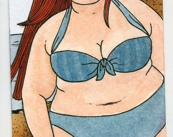BBW girl in bikini 5x7 print