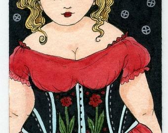 Fat Girl BBW rose corset
