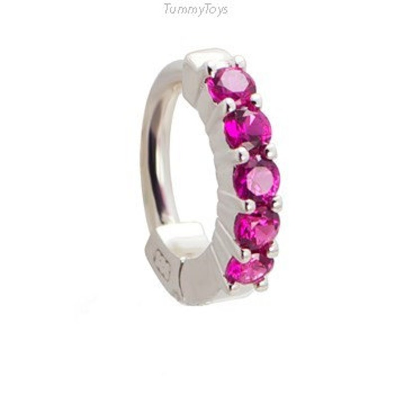 4489d402 Hot Pink Belly Ring Silver Belly Ring with 5 CZs Bright   Etsy