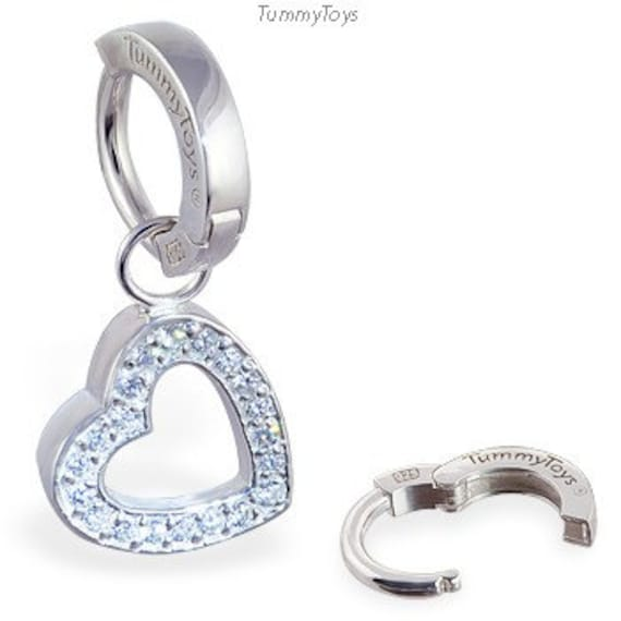 MsPiercing Belly Button Ring With Dangling Jeweled Playboy Bunny
