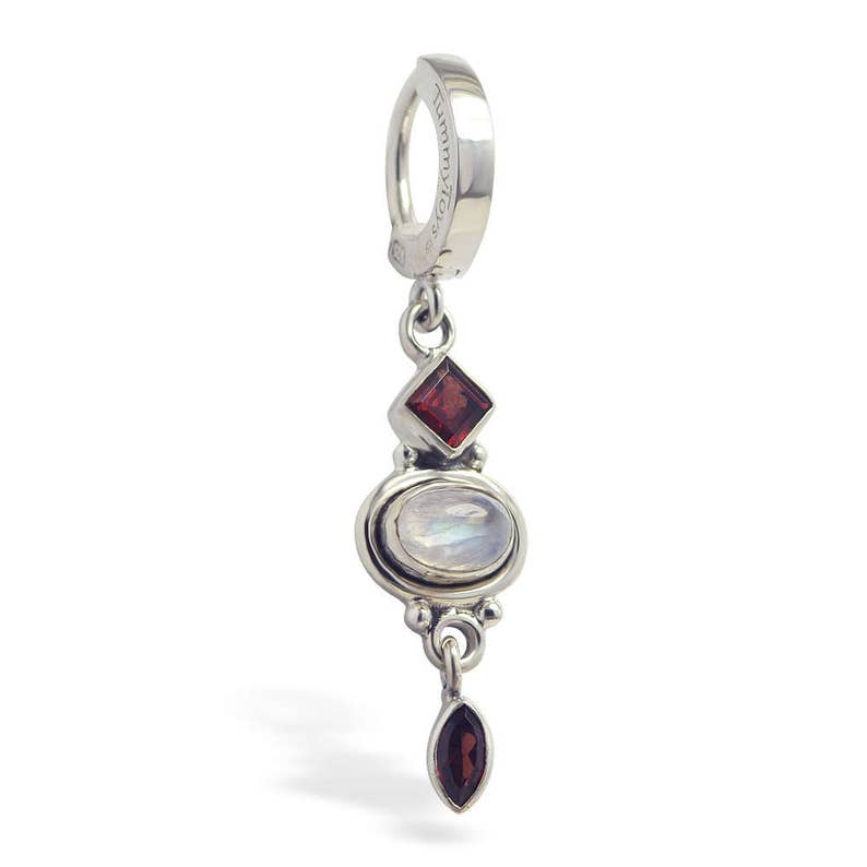 Silver And Moonstone Belly Button Ring Belly Ring With Moonstone Charm 68020