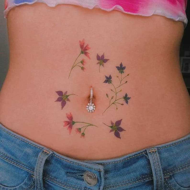 0939d183 Flower belly ring / CZ belly button ring / belly ring flower   Etsy