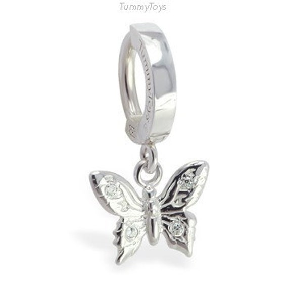 CZ Stone Cut Out Butterfly Dangling Design 925 Sterling Silver Belly Button Piercing Ring Jewelry