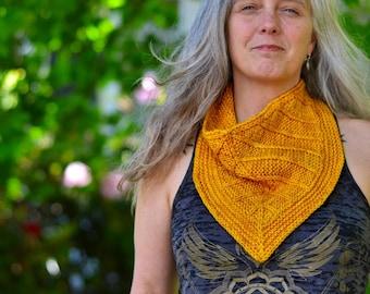 DIGITAL Knit Pattern - Leaf Lines Cowl Knitting Worsted Yarn