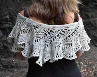 DIGITAL Knit Pattern - Lichen Shawl Scarf Knitting Beginner Knitter