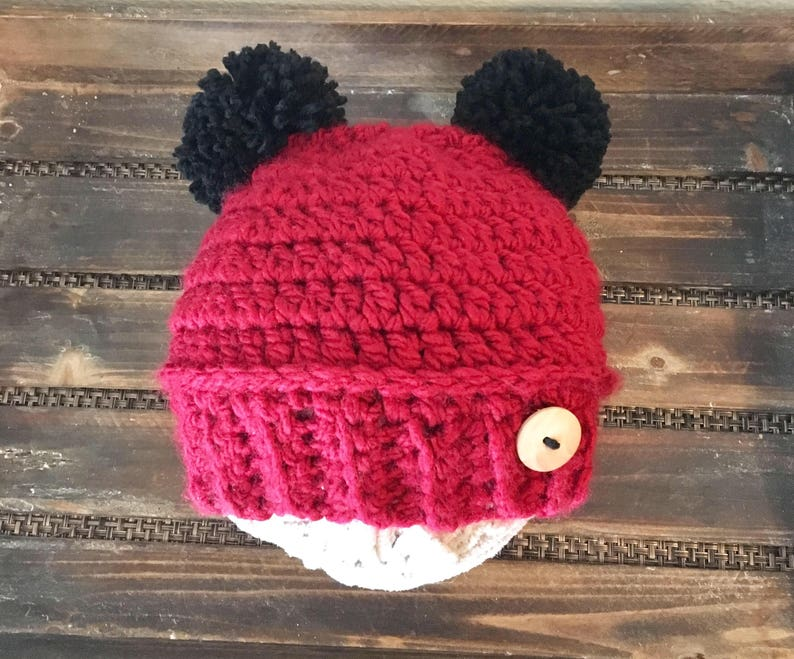 f8106789e7a Fur Pom Pom Hat Red hats for baby Mommy and Me Hats infant