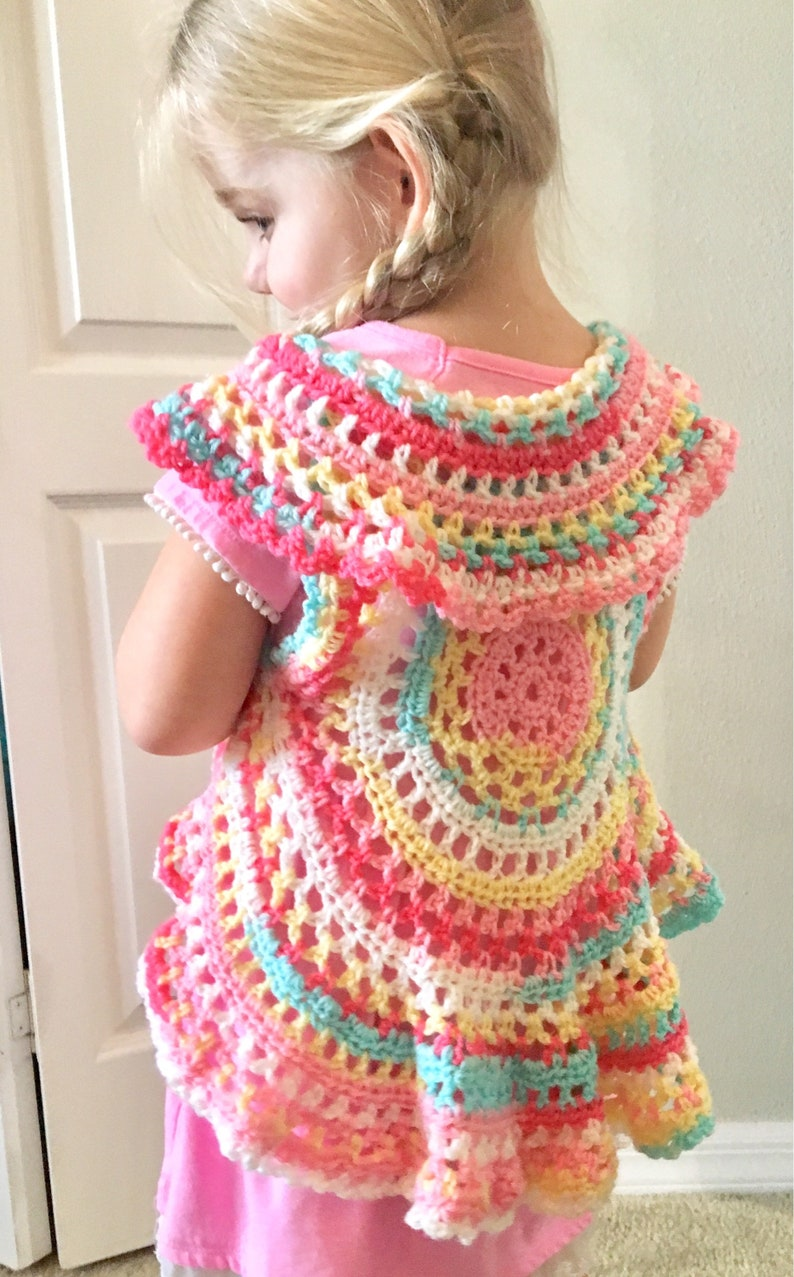 Boho Crochet Vest, Girls crochet sweater Vest, Hippie girl clothes, toddler  baby girl sweater vest, Bohemian Baby