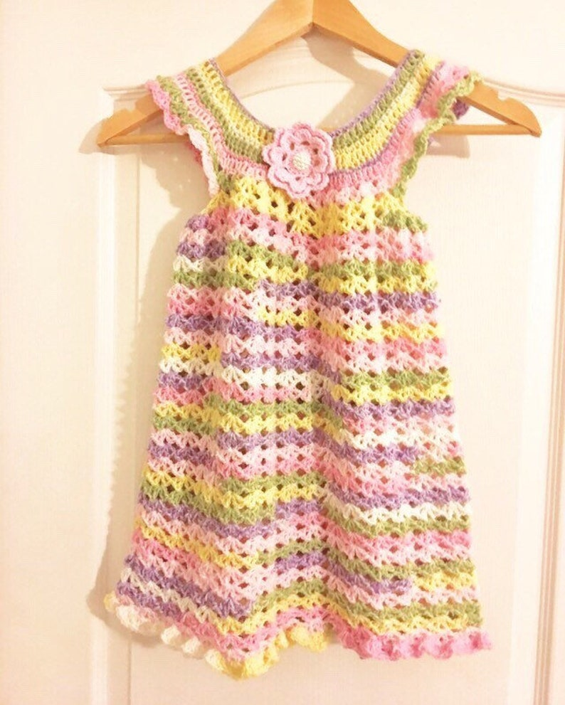 Crochet Baby Toddler Dress New Baby Dresses Baby Pinafore Etsy