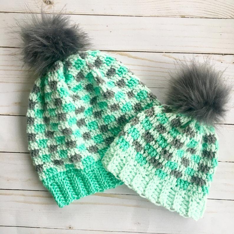 772de438e09 Mommy and Me fur pom pom hat buffalo Plaid hats Green Hats