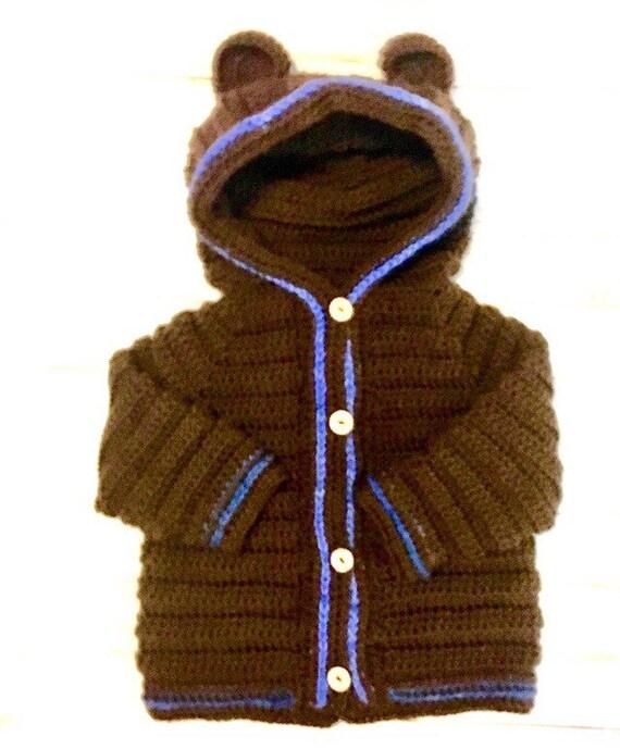 Baby boys Hooded Cardigan, boy sweaters, brown baby sweater, hooded sweaters, baby fashion