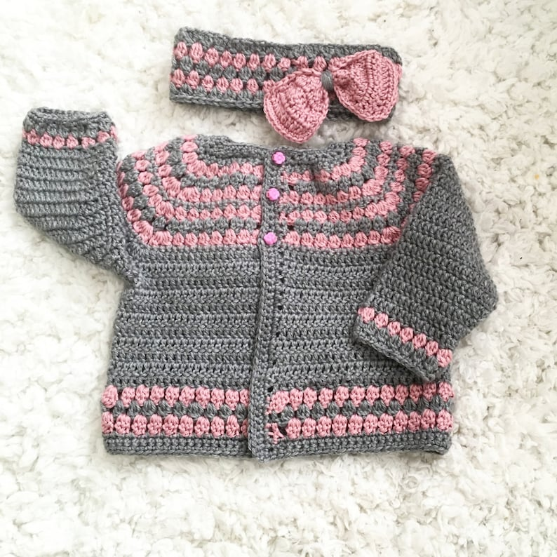 6812e4e2a Baby toddler girl sweaters Girls Pink and Grey Sweater