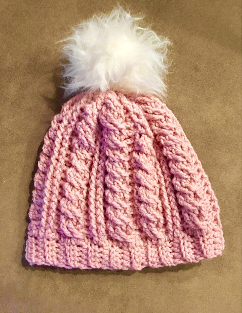 Fur Pom Pom Hat Pom Pom Slouch Hats Cable Knit Slouch Etsy