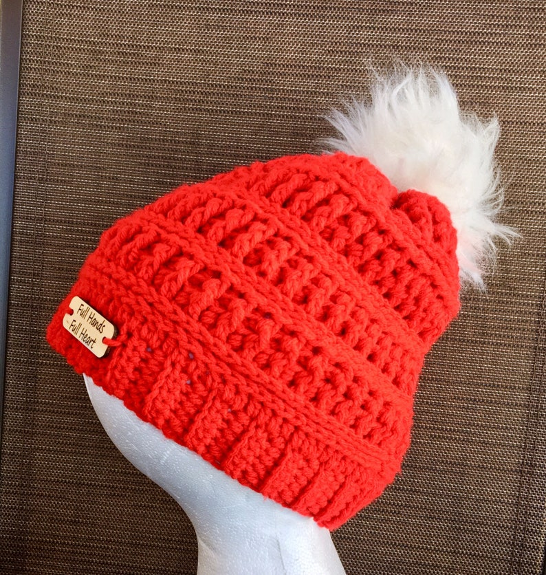 c3e902f4142 Fur pompom hat crochet red slouch hats baby winter beanies