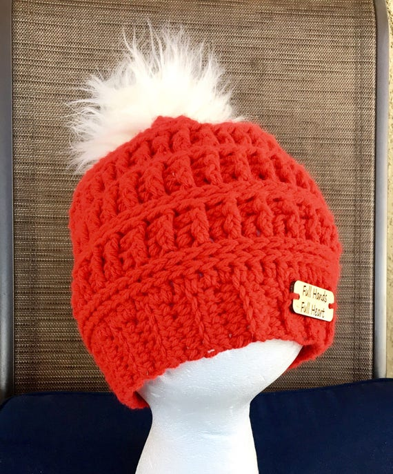fur pom pom hat red slouch hats baby infant beanies pompom  abf57c1b2af