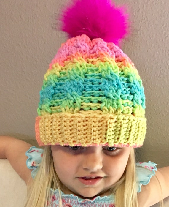 d5181735b04 Fur Pom Pom Hat Kids Girls Bright Colored Winter Hats Baby