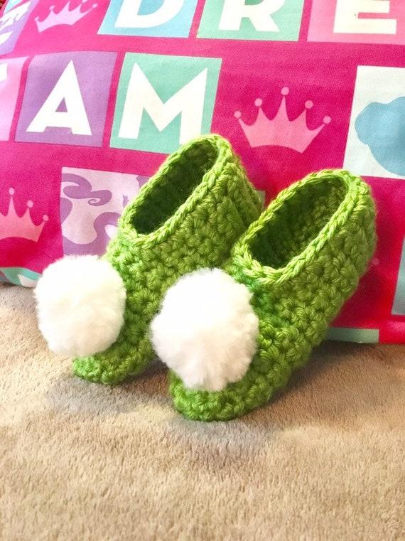 Tinkerbell fairy Slippers, girls bedroom Slippers, green slippers, costume  shoes, costumes, slipper socks, infant booties