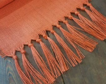 "12 - 14"" wide Burlap Table Runner with 5"" hand knotted fringe - Orange - Pumpkin - Red - Burgundy - Ivory - Natural"