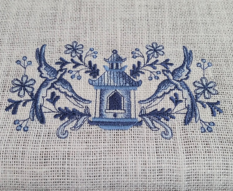 Chinoiserie Blue Birdhouse on Premium Ivory Burlap Runner with fringe and Antique Blue Satin Ribbon